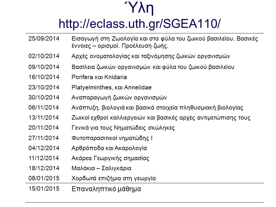 Ύλη http://eclass.uth.gr/SGEA110/ 25/09/2014Εισαγωγή στη Ζωολογία και στα φύλα του ζωικού βασιλείου. Βασικές έννοιες – ορισμοί. Προέλευση ζωής. 02/10/