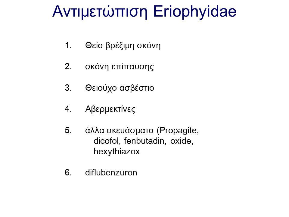 Αντιμετώπιση Eriophyidae 1. Θείο βρέξιμη σκόνη 2. σκόνη επίπαυσης 3. Θειούχο ασβέστιο 4. Αβερμεκτίνες 5. άλλα σκευάσματα (Propagite, dicofol, fenbutad