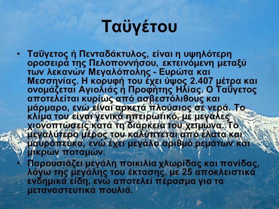 Ταϋγέτου Ταΰγετος ή Πενταδάκτυλος, είναι η υψηλότερη οροσειρά της Πελοποννήσου, εκτεινόμενη μεταξύ των λεκανών Μεγαλόπολης - Ευρώτα και Μεσσηνίας. Η κ