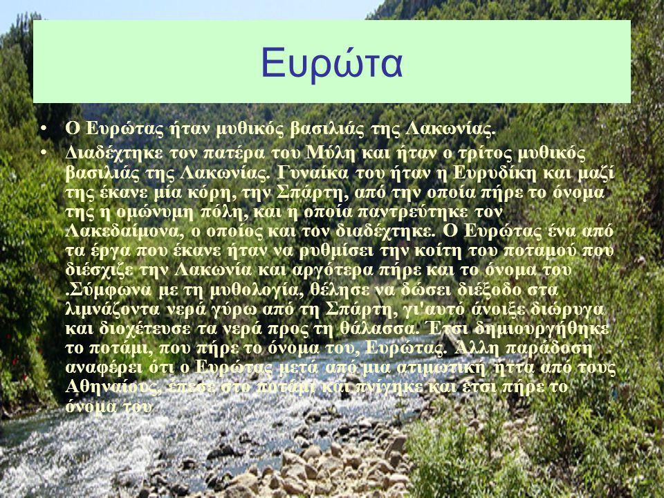 Ευρώτα Ο Ευρώτας ήταν μυθικός βασιλιάς της Λακωνίας. Διαδέχτηκε τον πατέρα του Μύλη και ήταν ο τρίτος μυθικός βασιλιάς της Λακωνίας. Γυναίκα του ήταν