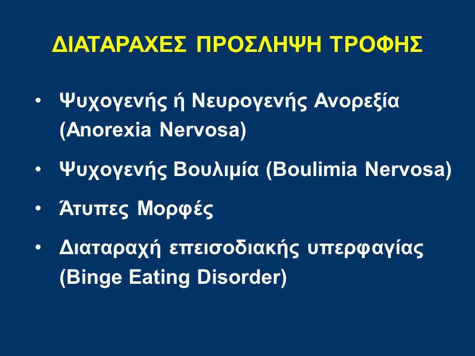 Ψυχογενής ή Νευρογενής Ανορεξία (Anorexia Nervosa) Ψυχογενής Βουλιμία (Boulimia Nervosa) Άτυπες Μορφές Διαταραχή επεισοδιακής υπερφαγίας (Binge Eating Disorder) ΔΙΑΤΑΡΑΧΕΣ ΠΡΟΣΛΗΨΗ ΤΡΟΦΗΣ
