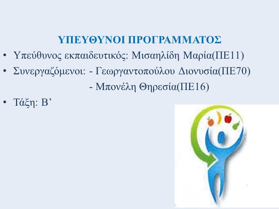ΥΠΕΥΘΥΝΟΙ ΠΡΟΓΡΑΜΜΑΤΟΣ Υπεύθυνος εκπαιδευτικός: Μισαηλίδη Μαρία(ΠΕ11) Συνεργαζόμενοι: - Γεωργαντοπούλου Διονυσία(ΠΕ70) - Μπονέλη Θηρεσία(ΠΕ16) Τάξη: Β'