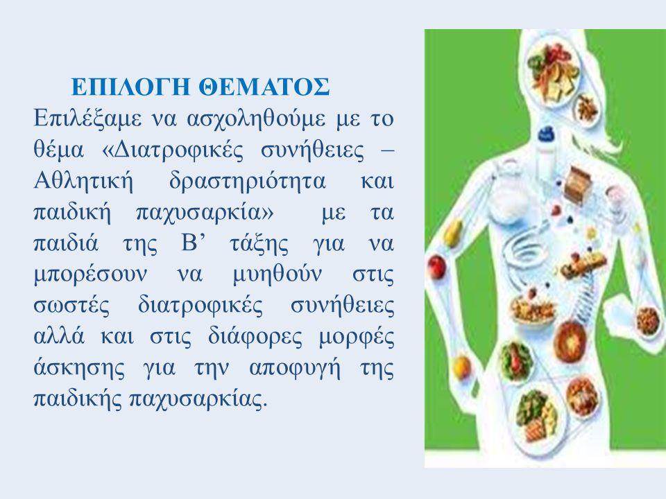 ΕΠΙΛΟΓΗ ΘΕΜΑΤΟΣ Επιλέξαμε να ασχοληθούμε με το θέμα «Διατροφικές συνήθειες – Αθλητική δραστηριότητα και παιδική παχυσαρκία» με τα παιδιά της Β' τάξης