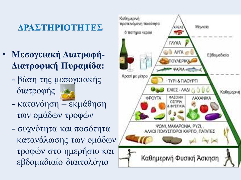 ΔΡΑΣΤΗΡΙΟΤΗΤΕΣ Μεσογειακή Διατροφή- Διατροφική Πυραμίδα: - βάση της μεσογειακής διατροφής - κατανόηση – εκμάθηση των ομάδων τροφών - συχνότητα και ποσ