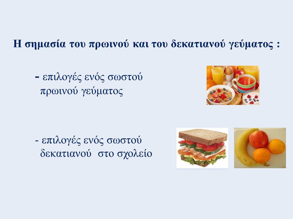 Η σημασία του πρωινού και του δεκατιανού γεύματος : - επιλογές ενός σωστού πρωινού γεύματος - επιλογές ενός σωστού δεκατιανού στο σχολείο