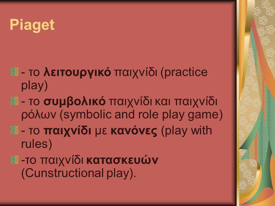 Piaget - το λειτουργικό παιχνίδι (practice play) - το συμβολικό παιχνίδι και παιχνίδι ρόλων (symbolic and role play game) - το παιχνίδι με κανόνες (pl