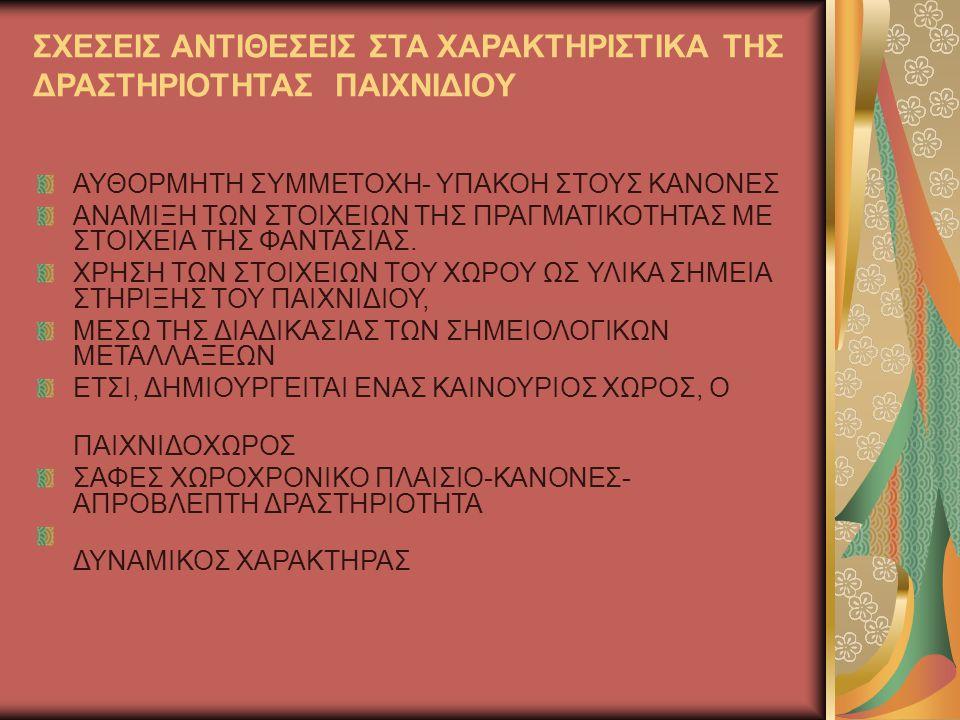 Το παιχνίδι στην Ελλάδα Πρώτη φορά γίνεται λόγος για την ένταξη του παιδιού στην προσχολική αγωγή στο «διάταγμα περί συστάσεως νηπιαγωγείων» (1896) Στο αναλυτικό πρόγραμμα του νηπιαγωγείου του 1962, τα είδη παιχνιδιού που περιλαμβάνονται είναι: Το οικοκυρικά Τα παιχνίδια της κούκλας Τα επαγγελματικά παιχνίδια Οι αναπαραστάσεις σκηνών από διηγήματα ή παραμύθια Στο επόμενο αναλυτικό πρόγραμμα του 1980 το παιχνίδι κατέχει την πρώτη θέση στο νηπιαγωγείο και αποτελεί τη βάση της όλης αγωγής.