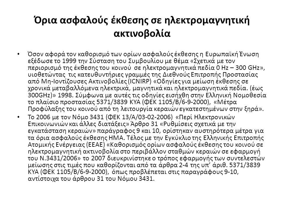 Όρια ασφαλούς έκθεσης σε ηλεκτρομαγνητική ακτινοβολία Όσον αφορά τον καθορισμό των ορίων ασφαλούς έκθεσης η Ευρωπαϊκή Ένωση εξέδωσε το 1999 την Σύσταση του Συμβουλίου με θέμα «Σχετικά με τον περιορισμό της έκθεσης του κοινού σε ηλεκτρομαγνητικά πεδία 0 Hz – 300 GHz», υιοθετώντας τις κατευθυντήριες γραμμές της Διεθνούς Επιτροπής Προστασίας από Μη-Ιοντίζουσες Ακτινοβολίες (ICNIRP) «Οδηγίες για μείωση έκθεσης σε χρονικά μεταβαλλόμενα ηλεκτρικά, μαγνητικά και ηλεκτρομαγνητικά πεδία.