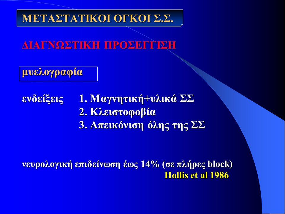 ΜΕΤΑΣΤΑΤΙΚΟΙ ΟΓΚΟΙ Σ.Σ.ΔΙΑΓΝΩΣΤΙΚΗ ΠΡΟΣΕΓΓΙΣΗ μυελογραφία ενδείξεις 1.