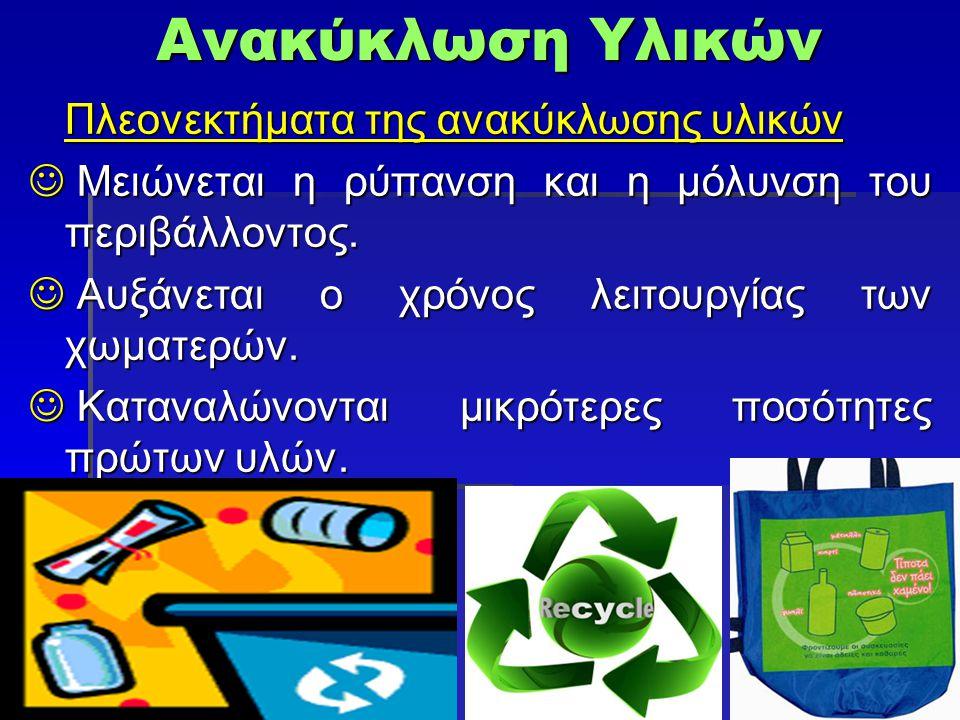 Ανακύκλωση Υλικών Πλεονεκτήματα της ανακύκλωσης υλικών Μειώνεται η ρύπανση και η μόλυνση του περιβάλλοντος. Μειώνεται η ρύπανση και η μόλυνση του περι