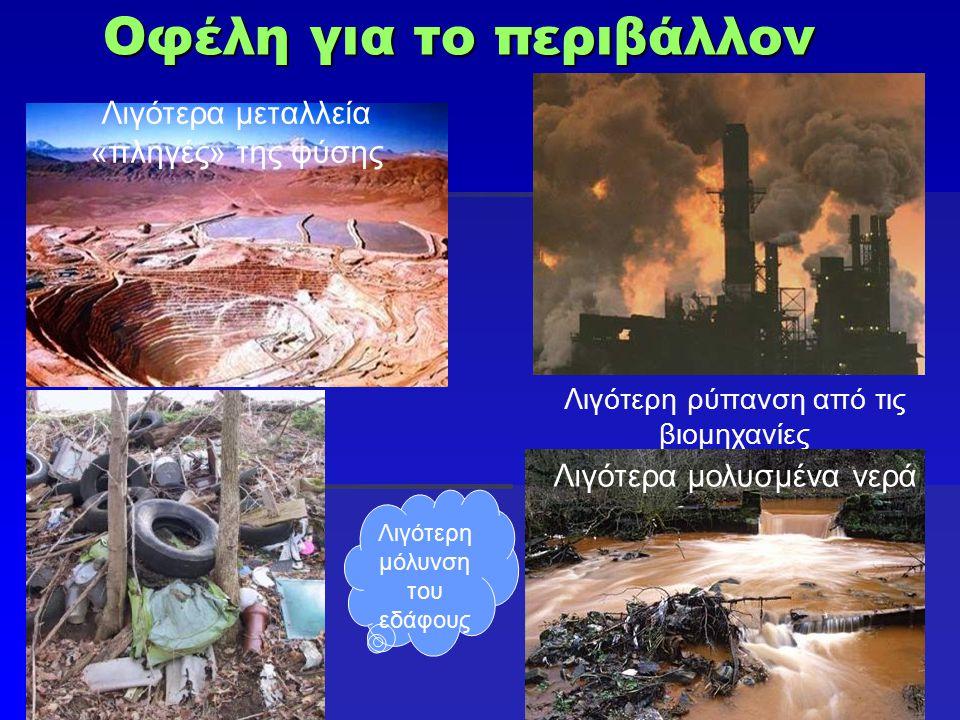 Οφέλη για το περιβάλλον Λιγότερη ρύπανση από τις βιομηχανίες Λιγότερα μεταλλεία «πληγές» της φύσης Λιγότερα μολυσμένα νερά Λιγότερη μόλυνση του εδάφου