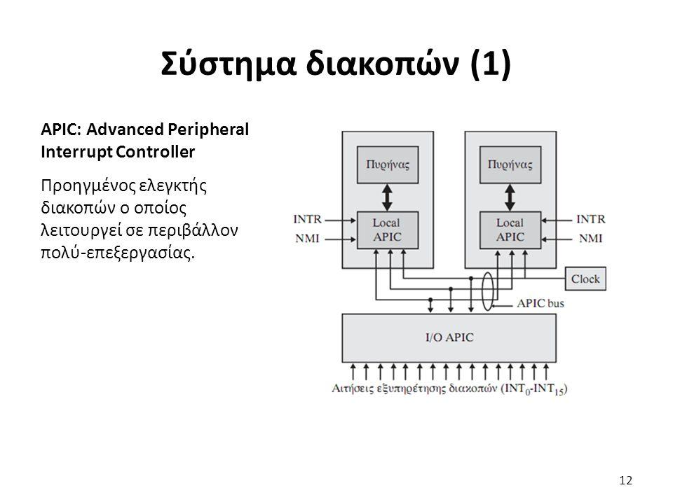 APIC: Advanced Peripheral Interrupt Controller Προηγμένος ελεγκτής διακοπών ο οποίος λειτουργεί σε περιβάλλον πολύ-επεξεργασίας.
