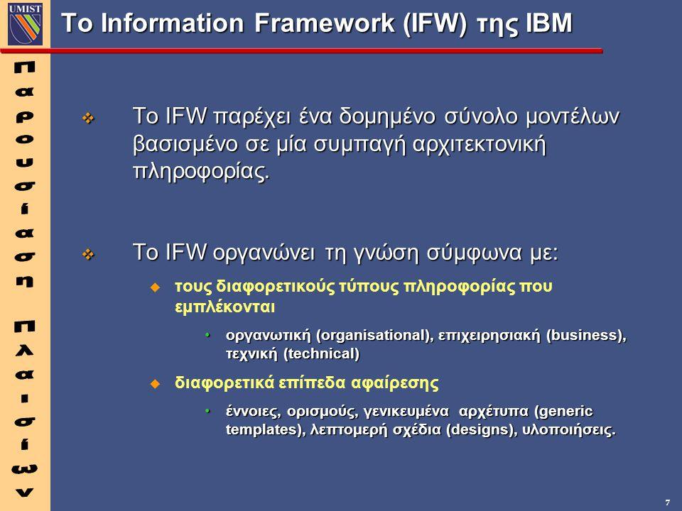 7 Το Information Framework (IFW) της IBM v Το IFW παρέχει ένα δομημένο σύνολο μοντέλων βασισμένο σε μία συμπαγή αρχιτεκτονική πληροφορίας. v Το IFW ορ