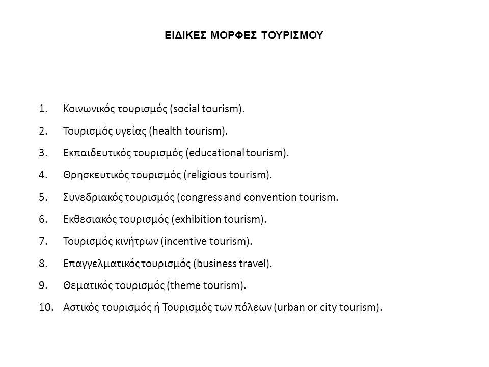 ΕΙΔΙΚΕΣ ΜΟΡΦΕΣ ΤΟΥΡΙΣΜΟΥ 1.Κοινωνικός τουρισμός (social tourism). 2.Τουρισμός υγείας (health tourism). 3.Εκπαιδευτικός τουρισμός (educational tourism)