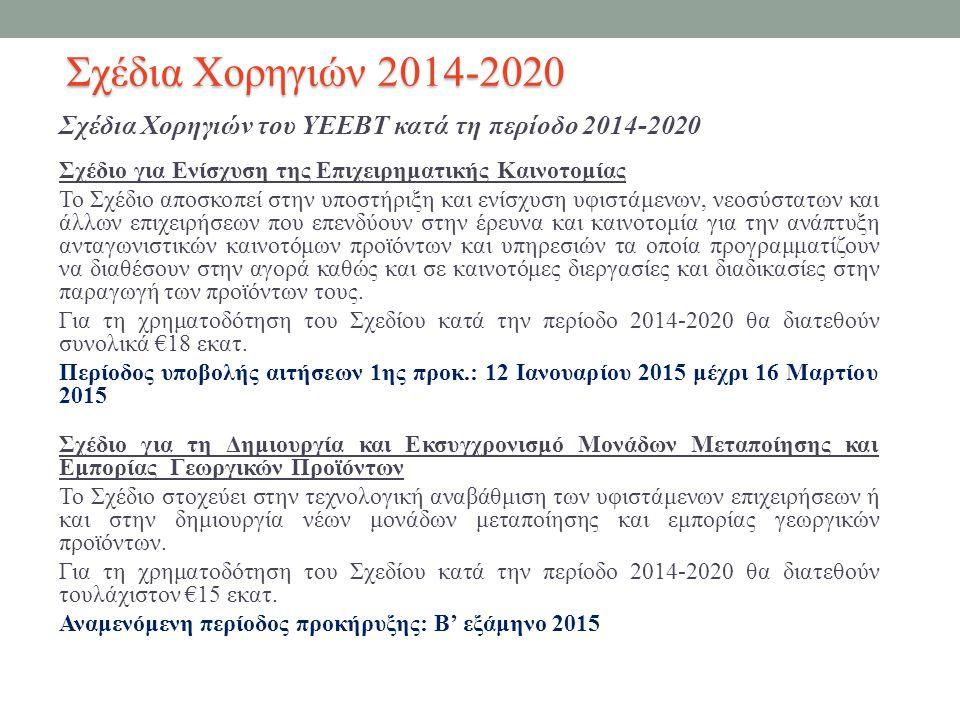 Σχέδια Χορηγιών του ΥΕΕΒΤ κατά τη περίοδο 2014-2020 Σχέδιο για Ενίσχυση της Επιχειρηματικής Καινοτομίας Το Σχέδιο αποσκοπεί στην υποστήριξη και ενίσχυση υφιστάμενων, νεοσύστατων και άλλων επιχειρήσεων που επενδύουν στην έρευνα και καινοτομία για την ανάπτυξη ανταγωνιστικών καινοτόμων προϊόντων και υπηρεσιών τα οποία προγραμματίζουν να διαθέσουν στην αγορά καθώς και σε καινοτόμες διεργασίες και διαδικασίες στην παραγωγή των προϊόντων τους.