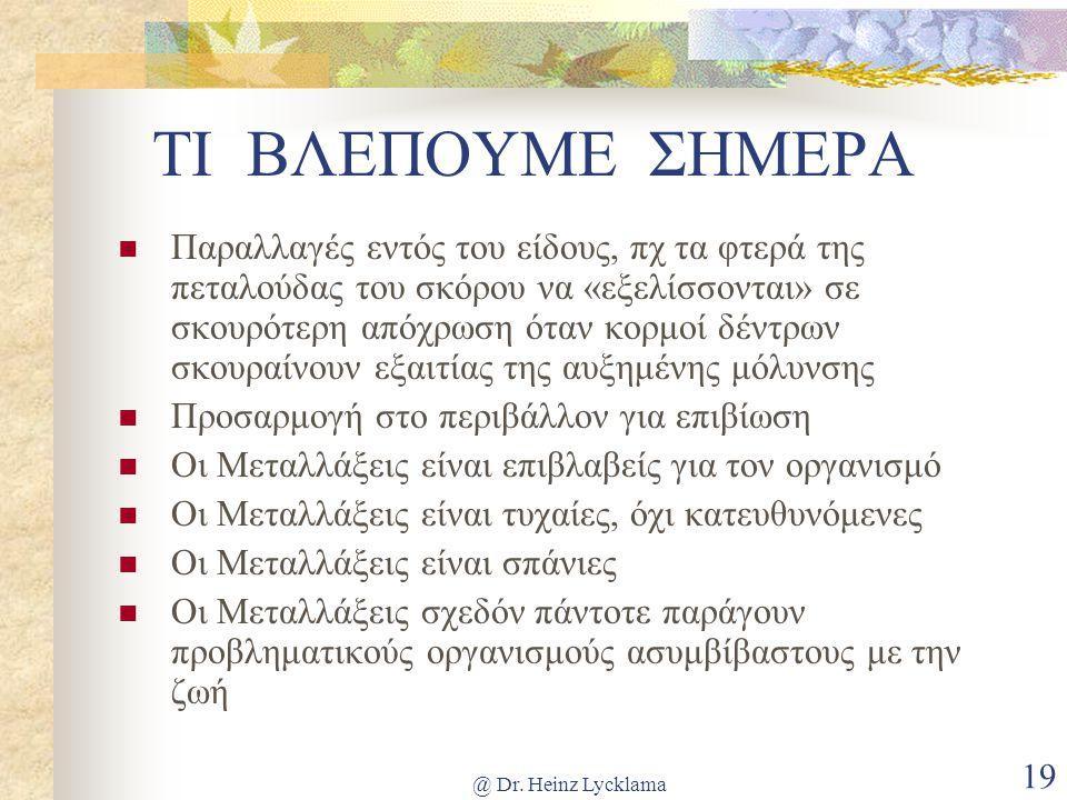 @ Dr. Heinz Lycklama 19 ΤΙ ΒΛΕΠΟΥΜΕ ΣΗΜΕΡΑ Παραλλαγές εντός του είδους, πχ τα φτερά της πεταλούδας του σκόρου να «εξελίσσονται» σε σκουρότερη απόχρωση