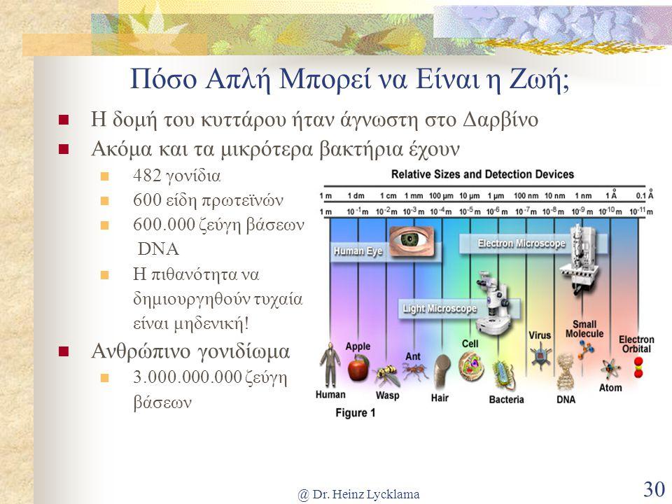 @ Dr. Heinz Lycklama 30 Πόσο Απλή Μπορεί να Είναι η Ζωή; Η δομή του κυττάρου ήταν άγνωστη στο Δαρβίνο Ακόμα και τα μικρότερα βακτήρια έχουν 482 γονίδι