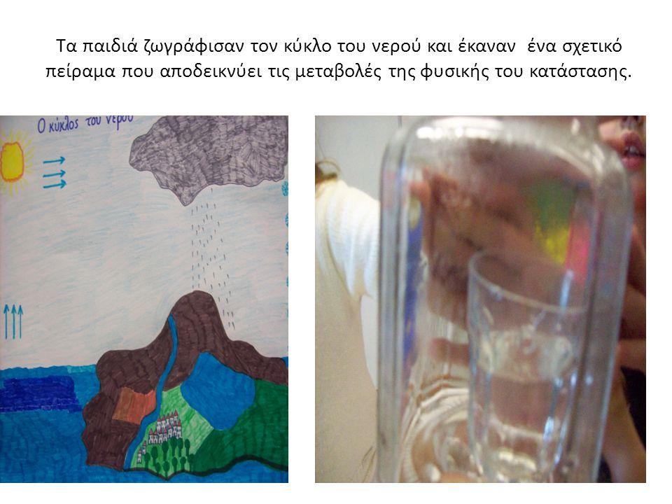 Τα παιδιά ζωγράφισαν τον κύκλο του νερού και έκαναν ένα σχετικό πείραμα που αποδεικνύει τις μεταβολές της φυσικής του κατάστασης.