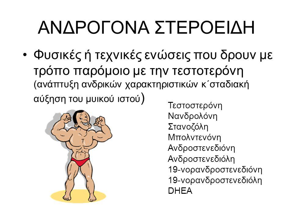 ΑΝΔΡΟΓΟΝΑ ΣΤΕΡΟΕΙΔΗ Φυσικές ή τεχνικές ενώσεις που δρουν με τρόπο παρόμοιο με την τεστοτερόνη (ανάπτυξη ανδρικών χαρακτηριστικών κ΄σταδιακή αύξηση του μυικού ιστού ) Τεστοστερόνη Νανδρολόνη Στανοζόλη Μπολντενόνη Ανδροστενεδιόνη Ανδροστενεδιόλη 19-νορανδροστενεδιόνη 19-νορανδροστενεδιόλη DHEA
