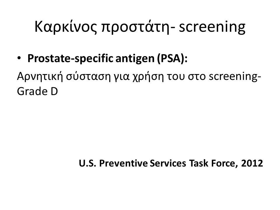 Καρκίνος προστάτη- screening Prostate-specific antigen (PSA): Αρνητική σύσταση για χρήση του στο screening- Grade D U.S. Preventive Services Task Forc