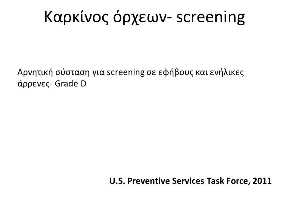 Καρκίνος όρχεων- screening Αρνητική σύσταση για screening σε εφήβους και ενήλικες άρρενες- Grade D U.S. Preventive Services Task Force, 2011