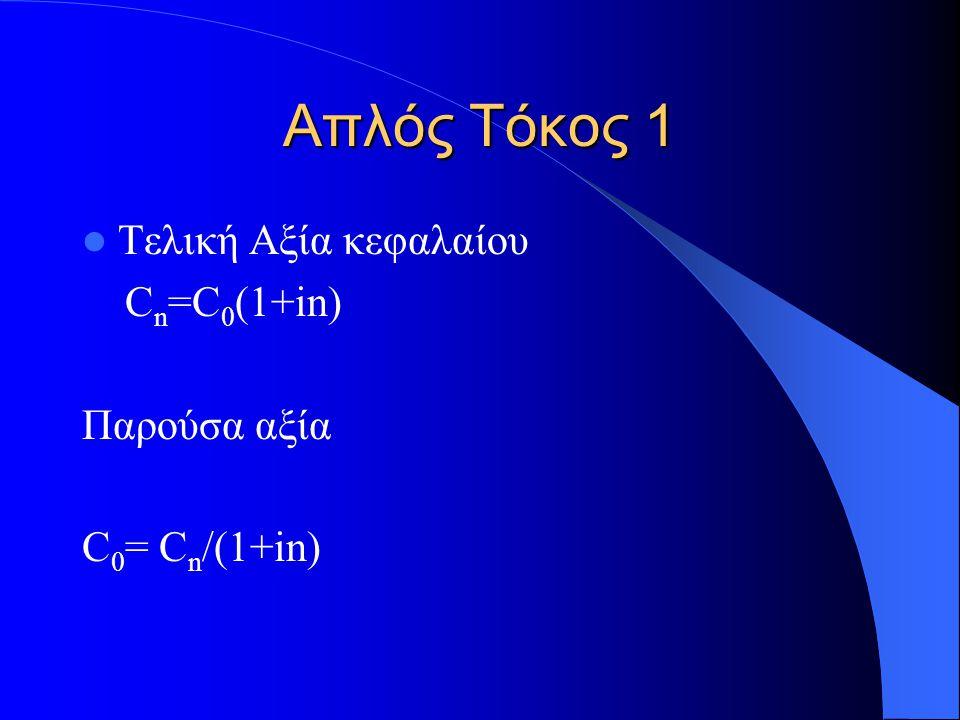 Απλός Τόκος 1 Τελική Αξία κεφαλαίου C n =C 0 (1+in) Παρούσα αξία C 0 = C n /(1+in)