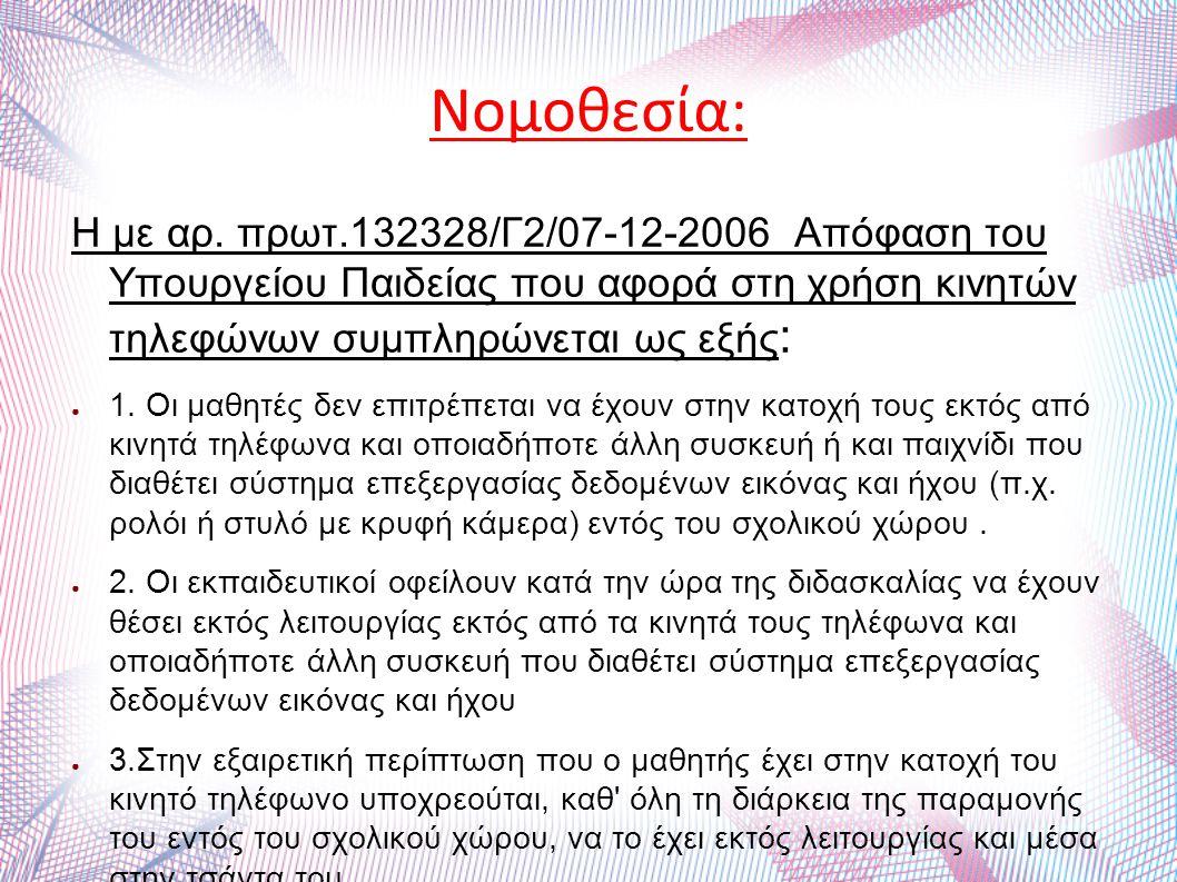 Νομοθεσία: Η με αρ. πρωτ.132328/Γ2/07-12-2006 Απόφαση του Υπουργείου Παιδείας που αφορά στη χρήση κινητών τηλεφώνων συμπληρώνεται ως εξής : ● 1. Οι μα