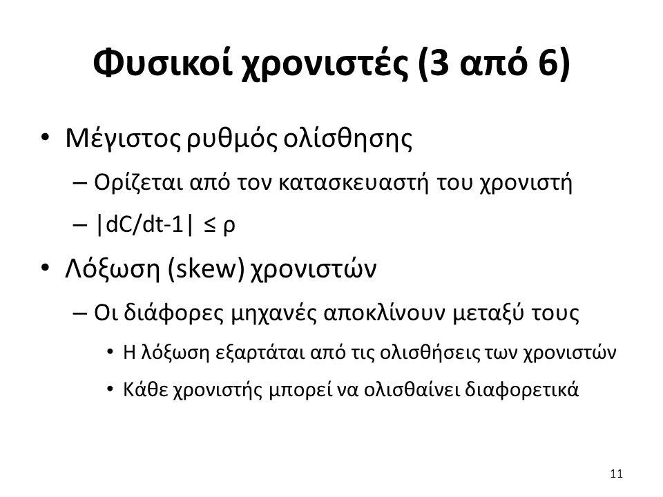 Φυσικοί χρονιστές (3 από 6) Μέγιστος ρυθμός ολίσθησης – Ορίζεται από τον κατασκευαστή του χρονιστή – |dC/dt-1| ≤ ρ Λόξωση (skew) χρονιστών – Οι διάφορ