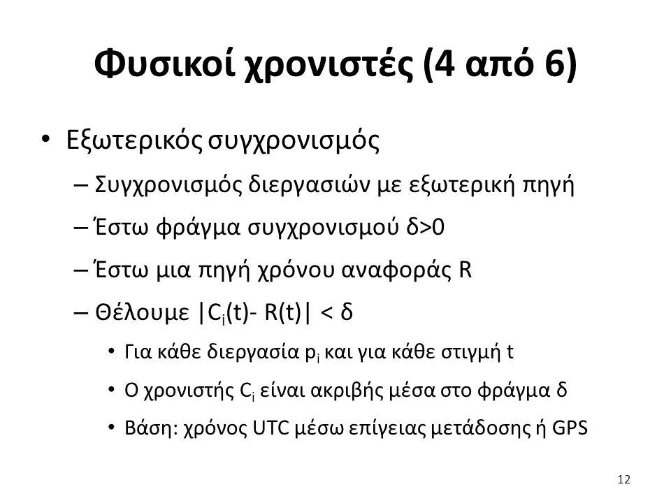 Φυσικοί χρονιστές (4 από 6) Εξωτερικός συγχρονισμός – Συγχρονισμός διεργασιών με εξωτερική πηγή – Έστω φράγμα συγχρονισμού δ>0 – Έστω μια πηγή χρόνου