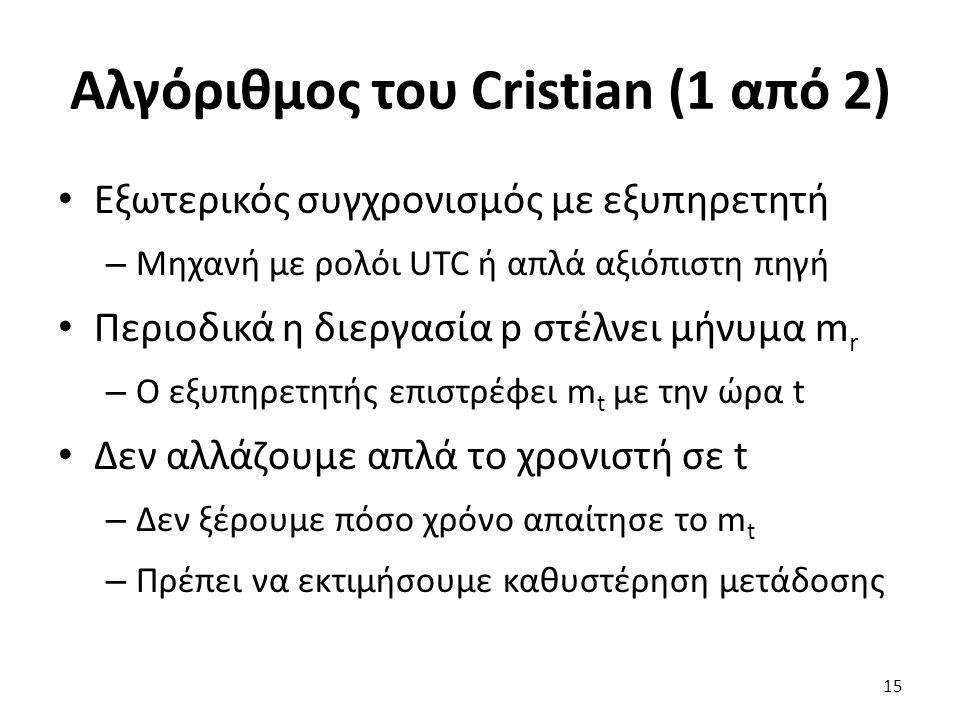 Αλγόριθμος του Cristian (1 από 2) Εξωτερικός συγχρονισμός με εξυπηρετητή – Μηχανή με ρολόι UTC ή απλά αξιόπιστη πηγή Περιοδικά η διεργασία p στέλνει μ