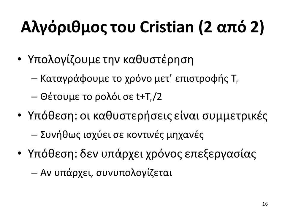 Αλγόριθμος του Cristian (2 από 2) Υπολογίζουμε την καθυστέρηση – Καταγράφουμε το χρόνο μετ' επιστροφής T r – Θέτουμε το ρολόι σε t+T r /2 Υπόθεση: οι