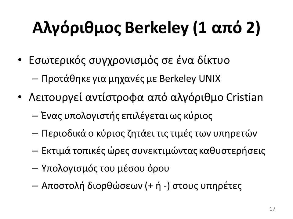 Αλγόριθμος Berkeley (1 από 2) Εσωτερικός συγχρονισμός σε ένα δίκτυο – Προτάθηκε για μηχανές με Berkeley UNIX Λειτουργεί αντίστροφα από αλγόριθμο Crist