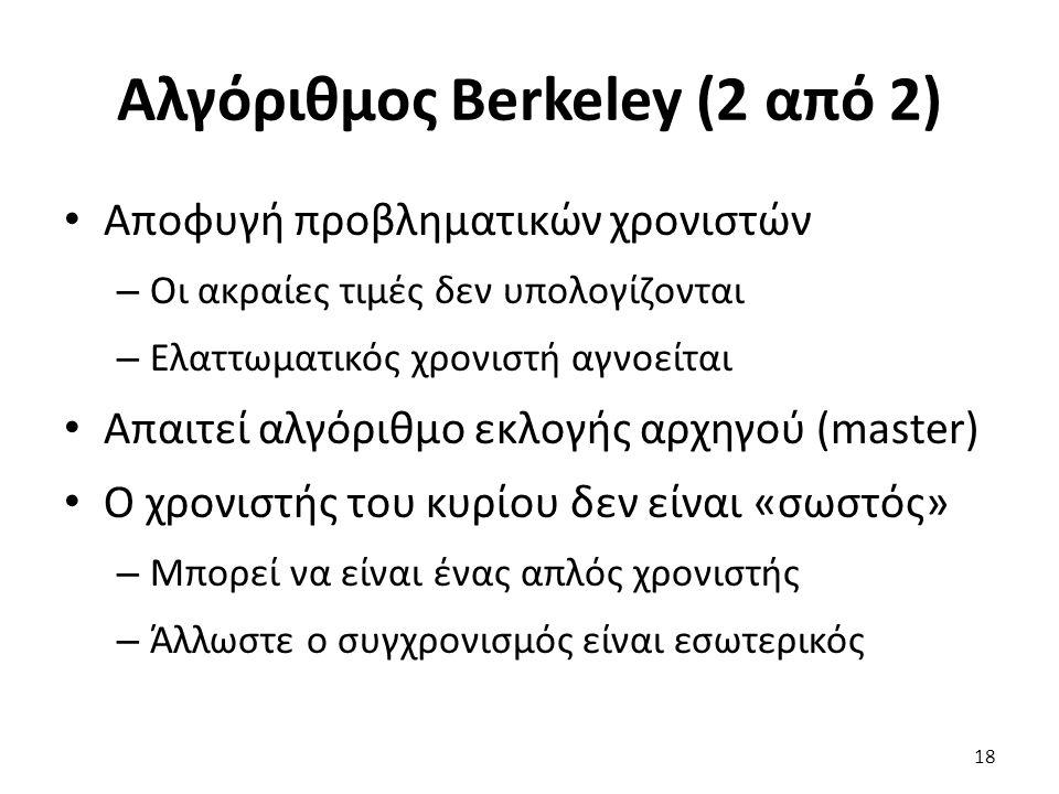 Αλγόριθμος Berkeley (2 από 2) Αποφυγή προβληματικών χρονιστών – Οι ακραίες τιμές δεν υπολογίζονται – Ελαττωματικός χρονιστή αγνοείται Απαιτεί αλγόριθμ