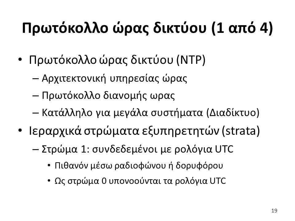 Πρωτόκολλο ώρας δικτύου (1 από 4) Πρωτόκολλο ώρας δικτύου (NTP) – Αρχιτεκτονική υπηρεσίας ώρας – Πρωτόκολλο διανομής ωρας – Κατάλληλο για μεγάλα συστή
