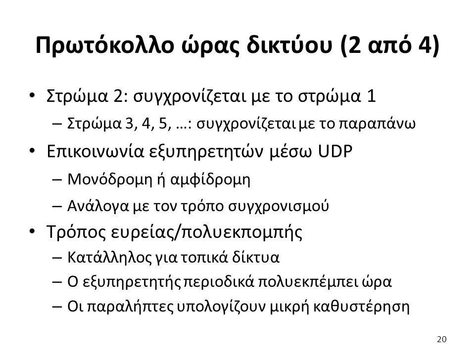 Πρωτόκολλο ώρας δικτύου (2 από 4) Στρώμα 2: συγχρονίζεται με το στρώμα 1 – Στρώμα 3, 4, 5, …: συγχρονίζεται με το παραπάνω Επικοινωνία εξυπηρετητών μέ