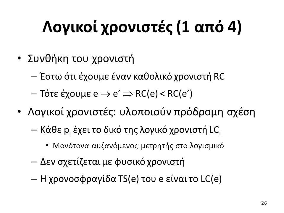 Λογικοί χρονιστές (1 από 4) Συνθήκη του χρονιστή – Έστω ότι έχουμε έναν καθολικό χρονιστή RC – Τότε έχουμε e  e'  RC(e) < RC(e') Λογικοί χρονιστές: