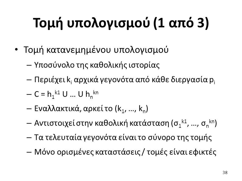 Τομή υπολογισμού (1 από 3) Τομή κατανεμημένου υπολογισμού – Υποσύνολο της καθολικής ιστορίας – Περιέχει k i αρχικά γεγονότα από κάθε διεργασία p i – C