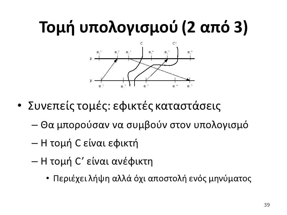 Τομή υπολογισμού (2 από 3) Συνεπείς τομές: εφικτές καταστάσεις – Θα μπορούσαν να συμβούν στον υπολογισμό – Η τομή C είναι εφικτή – Η τομή C' είναι ανέ