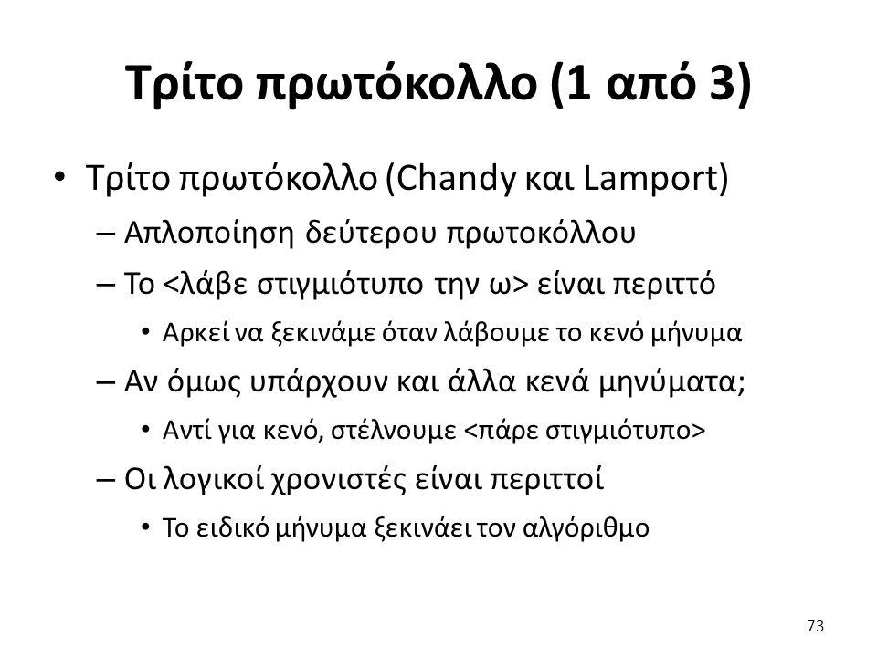 Τρίτο πρωτόκολλο (1 από 3) Τρίτο πρωτόκολλο (Chandy και Lamport) – Απλοποίηση δεύτερου πρωτοκόλλου – Το είναι περιττό Αρκεί να ξεκινάμε όταν λάβουμε τ