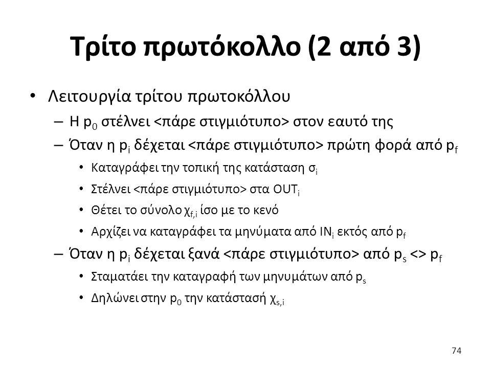 Τρίτο πρωτόκολλο (2 από 3) Λειτουργία τρίτου πρωτοκόλλου – Η p 0 στέλνει στον εαυτό της – Όταν η p i δέχεται πρώτη φορά από p f Καταγράφει την τοπική