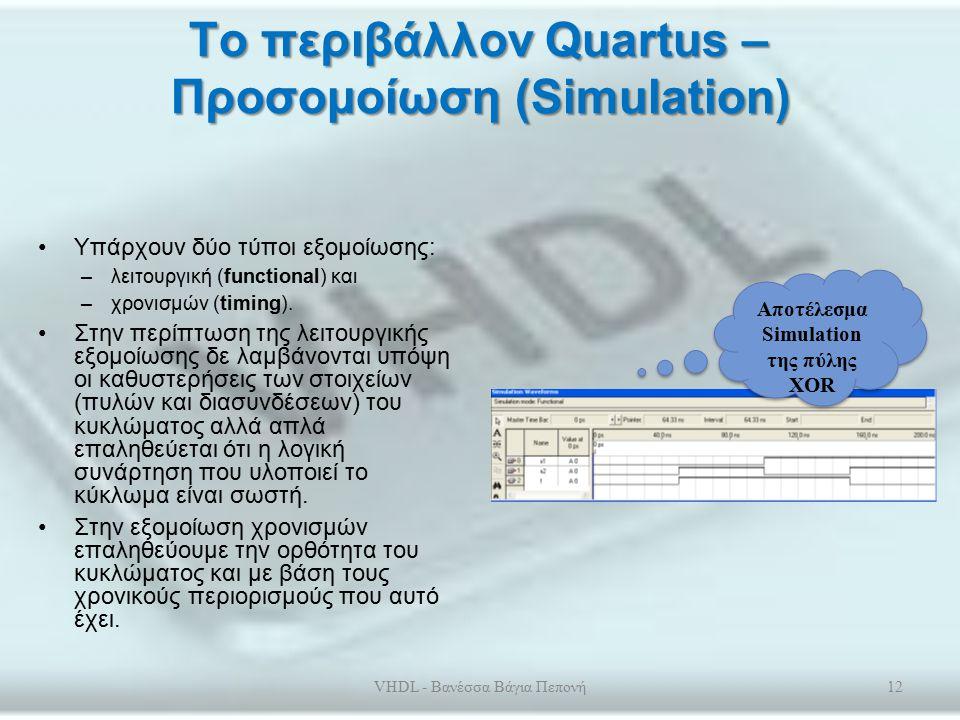 Το περιβάλλον Quartus - Compiler Ο μεταφραστής αποτελείται από τα εργαλεία : –Analysis and Synthesis –Fitter –Assembler και –Timing Analyzer VHDL - Βανέσσα Βάγια Πεπονή11 Παράθυρο Compilation