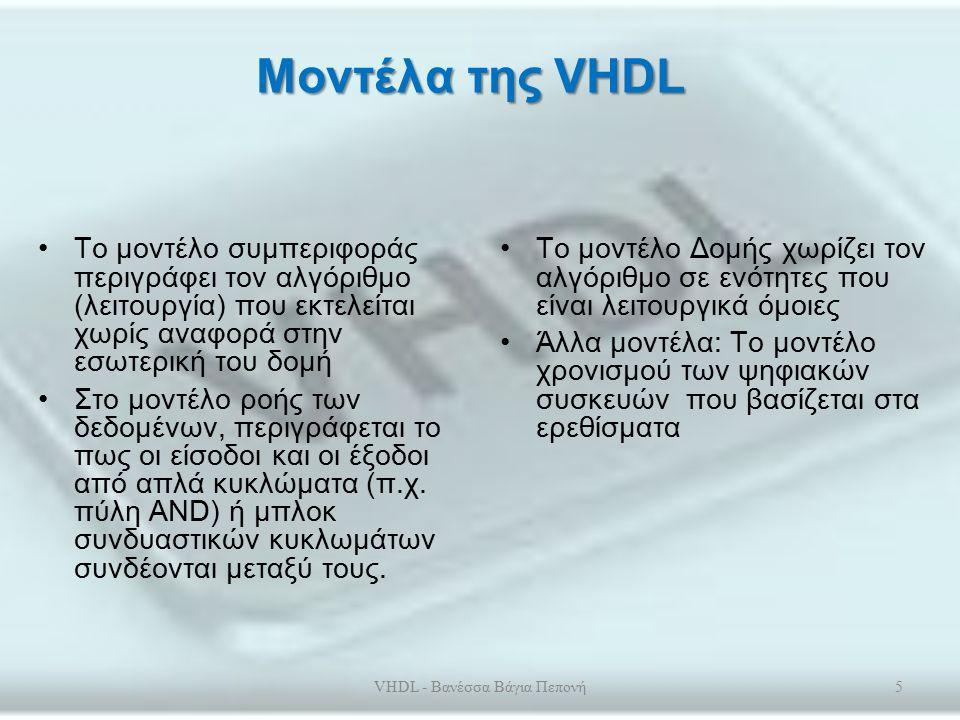 Βασικά Στοιχεία της VHDL Η γλώσσα VHDL είναι μία υψηλού επιπέδου γλώσσα που περιγράφει ψηφιακά κυκλώματα.