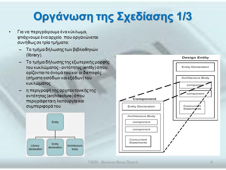 Μοντέλα της VHDL Το μοντέλο συμπεριφοράς περιγράφει τον αλγόριθμο (λειτουργία) που εκτελείται χωρίς αναφορά στην εσωτερική του δομή Στo μοντέλο ροής των δεδομένων, περιγράφεται το πως οι είσοδοι και οι έξοδοι από απλά κυκλώματα (π.χ.