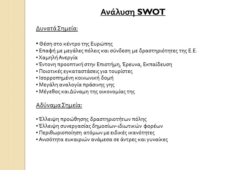 Ανάλυση SWOT Δυνατά Σημεία : Θέση στο κέντρο της Ευρώπης Επαφή με μεγάλες πόλεις και σύνδεση με δραστηριότητες της Ε.