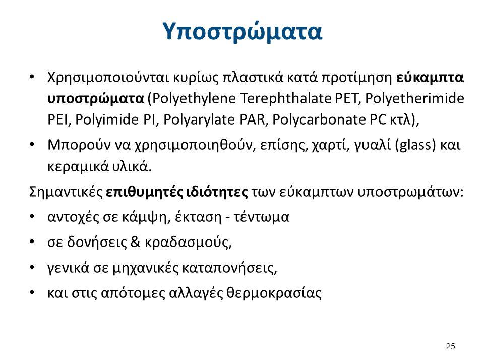 Υποστρώματα Χρησιμοποιούνται κυρίως πλαστικά κατά προτίμηση εύκαμπτα υποστρώματα (Polyethylene Terephthalate PET, Polyetherimide PEΙ, Polyimide PI, Po