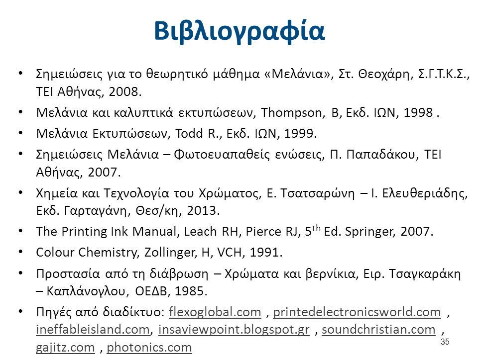 Βιβλιογραφία Σημειώσεις για το θεωρητικό μάθημα «Μελάνια», Στ. Θεοχάρη, Σ.Γ.Τ.Κ.Σ., ΤΕΙ Αθήνας, 2008. Μελάνια και καλυπτικά εκτυπώσεων, Thompson, B, Ε