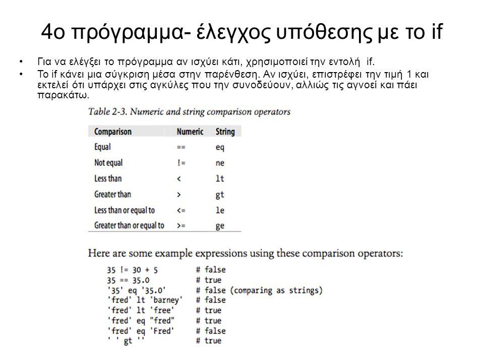 4o πρόγραμμα- έλεγχος υπόθεσης με το if Για να ελέγξει το πρόγραμμα αν ισχύει κάτι, χρησιμοποιεί την εντολή if. Το if κάνει μια σύγκριση μέσα στην παρ