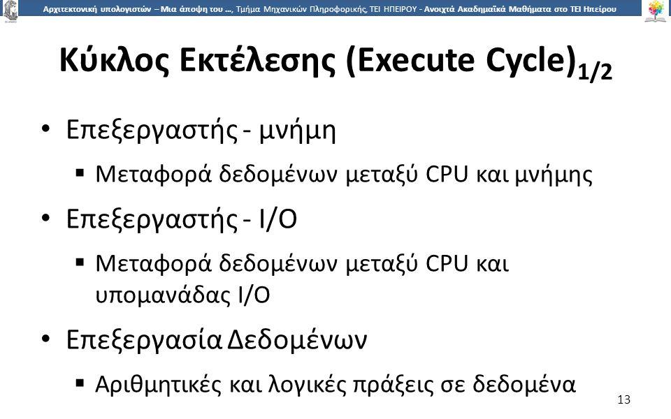1313 Αρχιτεκτονική υπολογιστών – Μια άποψη του …, Τμήμα Μηχανικών Πληροφορικής, ΤΕΙ ΗΠΕΙΡΟΥ - Ανοιχτά Ακαδημαϊκά Μαθήματα στο ΤΕΙ Ηπείρου Κύκλος Εκτέλεσης (Execute Cycle) 1/2 Επεξεργαστής - μνήμη  Μεταφορά δεδομένων μεταξύ CPU και μνήμης Επεξεργαστής - I/O  Μεταφορά δεδομένων μεταξύ CPU και υπομανάδας I/O Επεξεργασία Δεδομένων  Αριθμητικές και λογικές πράξεις σε δεδομένα 13