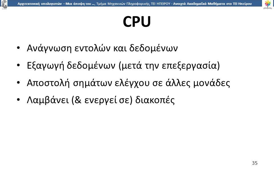 3535 Αρχιτεκτονική υπολογιστών – Μια άποψη του …, Τμήμα Μηχανικών Πληροφορικής, ΤΕΙ ΗΠΕΙΡΟΥ - Ανοιχτά Ακαδημαϊκά Μαθήματα στο ΤΕΙ Ηπείρου CPU Ανάγνωση εντολών και δεδομένων Εξαγωγή δεδομένων (μετά την επεξεργασία) Αποστολή σημάτων ελέγχου σε άλλες μονάδες Λαμβάνει (& ενεργεί σε) διακοπές 35