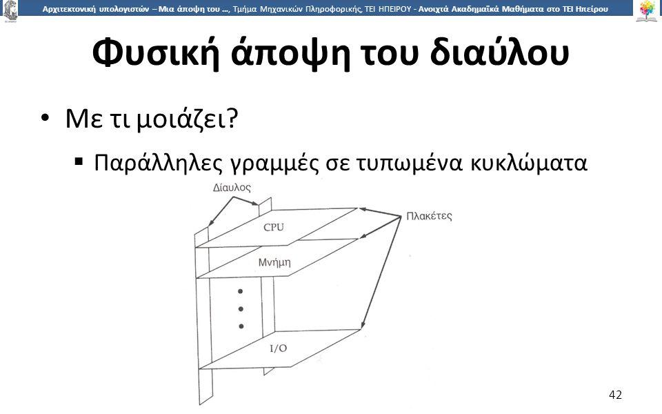 4242 Αρχιτεκτονική υπολογιστών – Μια άποψη του …, Τμήμα Μηχανικών Πληροφορικής, ΤΕΙ ΗΠΕΙΡΟΥ - Ανοιχτά Ακαδημαϊκά Μαθήματα στο ΤΕΙ Ηπείρου Φυσική άποψη του διαύλου Με τι μοιάζει.
